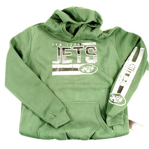 New York Jets Sweatshirts - Text Logo Kangaroo Pocket Hoodies - Youth/Kids Assorted Sizes - 3 For $45.00