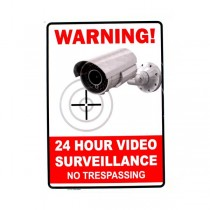 """24 Hour Surveillance Sign - 10""""x14"""" Heavy Plastic - Camera.Plus Style - 12 Signs For $30.00"""