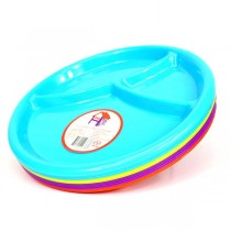 Wholesale Plates - 3Section Plates - Assorted Color - 2Packs - 36 2Packs For $23.40