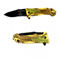 "Wholesale Knife - #SE339YC - Green/Yellow Camo - 4.50"" Spring Assist Tactical Knives - 12 For $48.00"