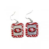 San Francisco 49ers Earrings - Zebra Style Dangle Earrings - $3.00 Per Pair