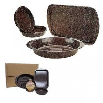 Granite Wear - 4PC Set - Roaster, Cookie and 2 Round Cake Pans Included - 2 Sets For $20.00