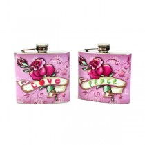 Stainless Steel Flasks - 5OZ Pink Peace/Love Flasks - 12 For $24.00