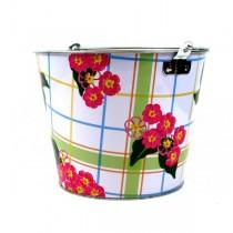 Metal Buckets - 5QT Floral Plaid Design - 12 Buckets For $36.00