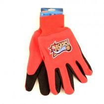 Overstock - Philadelphia 76ers Gloves - Swoosh/Star Logo - Red.Black 2Tone Grip Gloves - 12 Pair For $30.00