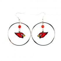 """Arizona Cardinals Earrings - 2"""" Color Bead Hoop Earrings - 12 Pair For $42.00"""