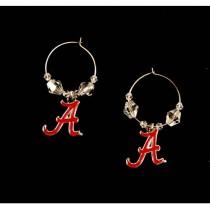 Alabama Earrings - Clear Bead HOOP Style - 12 Pair For $54.00