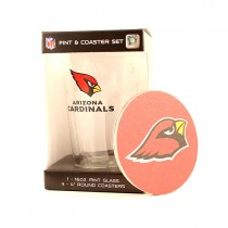 Arizona Cardinals Glasses - 16OZ Glass Pint With 4 Coaster Set - (Pattern May Be Different Than Pictured) - $5.00 Per Set