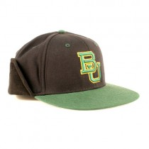 Baylor University Caps - Green Billed Black Hat - Ear Flap Caps - Size 7 3/8 - $6.50 Each