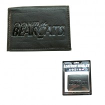 Cincinnati Bearcats Wallets - Black Leather Tri-Fold Wallets -12 For $84.00