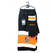 Cincinnati Bengals Sets - (Pattern May Be Different Than Pictured) Heavy Knit Scarf And Fleece Sets - 12 For $144.00