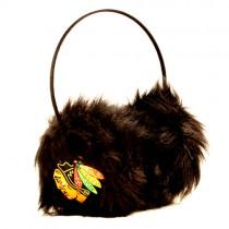 Chicago Blackhawks Hockey - Black Fuzzy Earmuffs - 12 Earmuffs For $72.00
