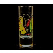 Chicago Blackhawks Shot Glasses - 2OZ Cordial HYPE Style - (Pattern May Be Different Than Pictured) - $2.50 Each