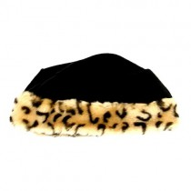 Overstock - Wholesale YOUTH Hats (6-10) - Black With Leopard Print Tip Winter Fleece - 24 For $24.00