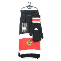 Chicago Blackhawks Sets - (Pattern May Be Different Than Pictured) Heavy Knit Scarf And Fleece Sets - 12 For $144.00