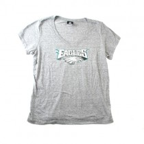 Philadelphia Eagles T-Shirts - Gray Distressed Logo Style - Size Large - 6 For $30.00