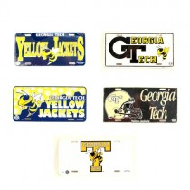 Total Blowout - Georgia Tech License Plates - Assorted Style Plastic License Plates - (Assortment Will Not Look As Pictured) - 24 For $24.00