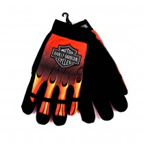Harley Davidson Merchandise - Flame Style All Purpose Riding/Mechanic Gloves - Size SMALL ONLY: 12 Pair For $42.00