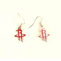 Houston Rockets Earrings - AMCO Series2 - Dangle Earrings - 12 Pair For $30.00