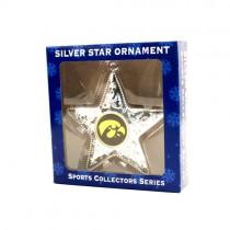 Iowa Hawkeyes Ornaments - Silver Star Style - 12 For $30.00