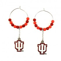 """University Of Indiana Earrings - 1"""" Multi Bead Hoop Earrings - $3.50 Per Pair"""