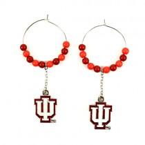 """University Of Indiana Earrings - 1"""" Multi Bead Hoop Earrings - 12 Pair For $36.00"""