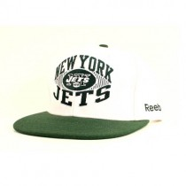 New York Jets Caps - White Cap With Green Flatbill - Field Logo Style - 2 Caps For $20.00