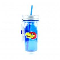 Kansas Jayhawks Merchandise - 16OZ Mason Jar With Straw - Cool Gear - Double Walled - 12 For $54.00