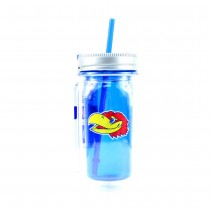 Kansas Jayhawks Merchandise - 16OZ Mason Jar With Straw - Cool Gear - Double Walled - 2 For $10.00