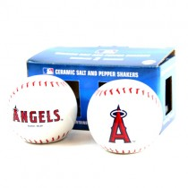 """Los Angeles Angels Salt And Pepper Shakers - 4"""" Ceramic Baseball Style Set - 2 Sets For $10.00"""