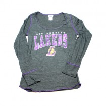 Los Angeles Lakers Shirt - Long Sleeve Gray With Purple Piping Style - Assorted Sizes - 12 For $60.00