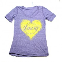 Los Angeles Lakers Shirt - Gray T-Shirt With Heart Logo - Assorted Sizes - 12 For $60.00