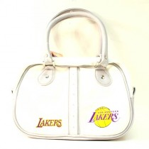 Los Angeles Lakers Purses - WHITE Ripper Style Bowler Bag - $12.00 Each
