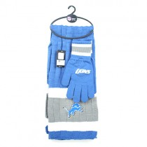 Detroit Lions Sets - (Pattern May Be Different Than Pictured) Heavy Knit Scarf And Fleece Glove Set - 12 For $144.00