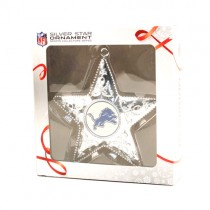 Detroit Lions Ornaments - Silver Star Style - 12 For $36.00