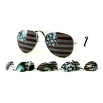 #MU105 - Aviator Split Lens Flag/Leaf Sunglasses - 12 Pair For $24.00