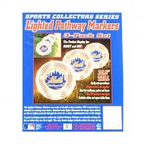 New York Mets Lights - 3PC Lighted Pathway Marker Set - 2 Sets For $20.00