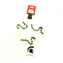 """Michigan State Spartans Beads - 22"""" Team Beads With Medallion - 12 Beads For $39.00"""