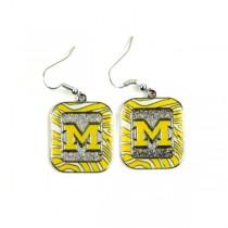 Michigan Wolverines Earrings - Zebra Style Dangle Earrings - 12 Pair For $30.00