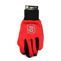 NC State Wolfpack Gloves - Black Palm Series -  (Pattern May Be Different Than Pictured) - Grip Gloves - 12 Pair For $36.00