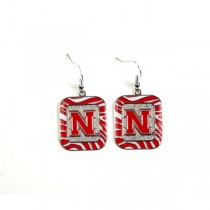 Nebraska Huskers Earrings - Zebra Style Dangle Earrings - 12 Pair For $30.00