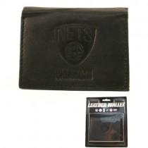 Brooklyn Nets Merchandise - BLACK Tri-Fold Leather Wallets - 12 Wallets For $84.00