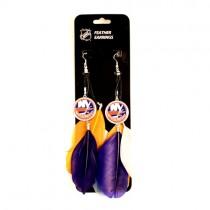New York Islanders Earrings - Feather Dangle Earrings - $3.00 Per Pair