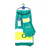 Oregon Ducks Sets -(Pattern May Be Different Than Pictured) Heavy Knit Scarf And Fleece Sets - 12 For $144.00