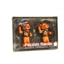 Oregon State Beavers Ornaments - 2PC Set Porcelain Mascot Series - 6 Sets For $18.00