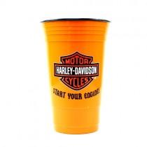 Harley Davidson Tumblers - Orange With Black Inside - 16OZ Start Your Engine - 2 For $10.00