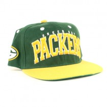 NFL Flat Bill Caps - Green Bay Packers Snap Back Caps - 3D Embroidery - $12.00 Each