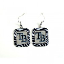 Tampa Bay Rays Earrings - Zebra Style Dangle Earrings - 12 Pair For $30.00