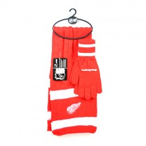 Detroit Red Wings Sets -(Pattern May Be Different Than Pictured) Heavy Knit Scarf And Fleece Glove Set - 12 For $144.00