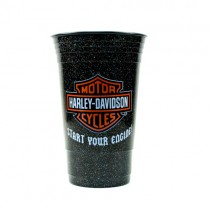 Harley Tumblers - SYE1754 Black Glitter Start Your Engine Style - 2 Tumblers For $10.00